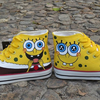 spongebob shoes Anime Shoes spongebob women Shoes spongebob canvas Hand Painted Shoes