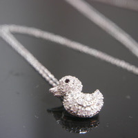Cute Silver Baby Duck Necklace Sterling Silver .925
