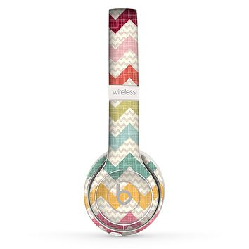 The Vintage Summer Colored Chevron V4 Skin Set for the Beats by Dre Solo 2 Wireless Headphones