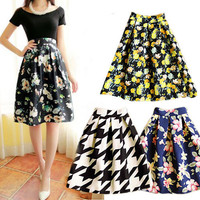 Ladies' Vintage Floral Print High Waist Skirt