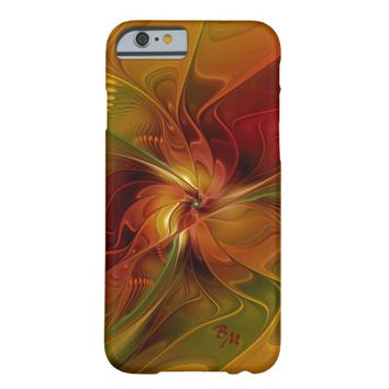 Abstract Red Orange Brown Green Flower Monogram Barely There iPhone 6 Case