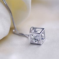 Shiny New Arrival Jewelry Gift Stylish Korean Pendant Luxury Crystal Accessory Silver Necklace [8171787783]