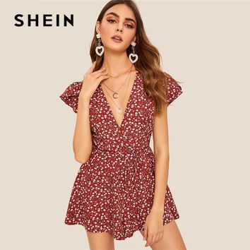 SHEIN Rust Belted Ditsy Floral Petal Sleeve Deep V Neck Sexy Romper Women Boho Vacation Mid Waist Summer Romper Jumpsuit