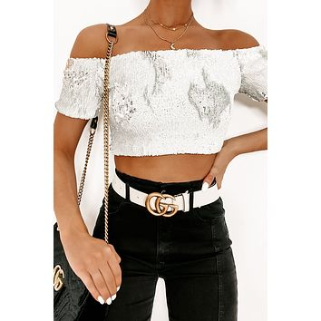 Wild Innocence Two-Tone Sequin Top (White)