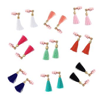 PINK VINTAGE GLAM RHINESTONE TASSEL EARPLUGS FOR SLEEPING