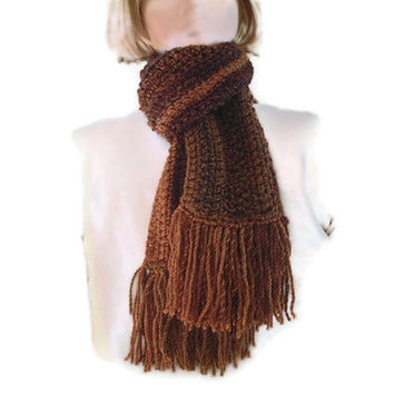 Mens, Ladies Crocheted Fringed Scarf in Browns. Accessories, Gift, Winter Sports, Hiking, Walking,