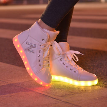 Autumn Lightning High-top Round-toe Flats Noctilucent Shoes [4964954692]