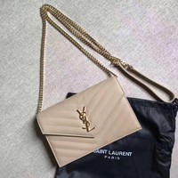 CREYDC0 auth ysl Yves saint laurent beige shoulder bag
