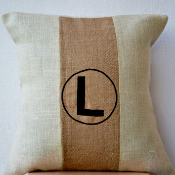 Chic Monogram Burlap Pillow Throw Pillow Color Block Beige Ivory Jute Cushion