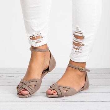 Palmer Open Toe Flats - Taupe