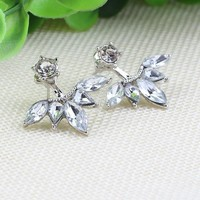 Crystal Silver Leaf Ear Earrings