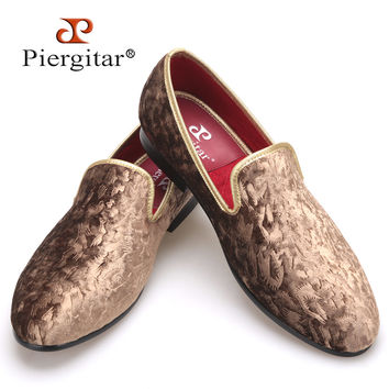 New special - handcrafted brown flower print men velvet shoes party and wedding men's loafers fashion men's flats