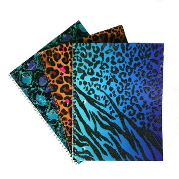Glitter & Foil Animal Prints 1 Subject Notebook - Wide Ruled - CASE OF 48