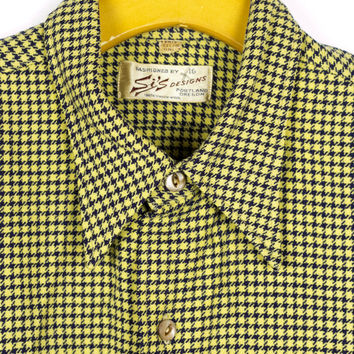 60s wool houndstooth shirt / vintage 1960s / long sleeve button down / yellow and navy blue / flannel / mens medium - large