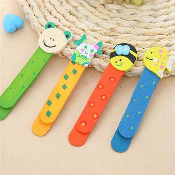 4pes/lot Wooden cartoon bookmarks 1.7 * 11cm cute multi-functional creative ruler bookmark office school library gift