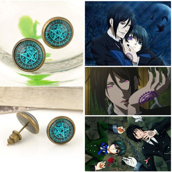 Kuroshitsuji Japan Anime Black Butler Stud Earrings For Women Girl Jewelry Magic Circle Earings