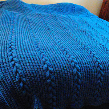 Hand Knit Blue Braided Cable King Size Afghan / Blanket