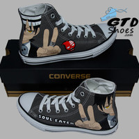 Hand Painted Converse Hi Sneakers. Soul Eater, Death the kid. Anime. Cartoon.  Handpainted shoes.