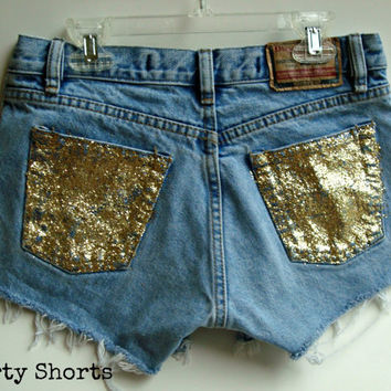 Custom Made High Waisted Glitter Shorts Sparkle by shortyshorts
