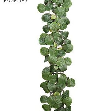 UV Protected Silk Peperomia Leaf Garland - 3' Long