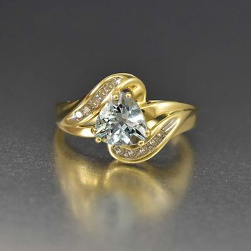 Aquamarine and Diamond Dreamy 10K Gold Vintage Ring