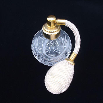 Royal Doulton Crystal Cut Perfume Atomizer, Crystal Atomizer, Royal Doulton Scent Bottle, Royal Doulton Crystal