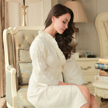 Princess 100% woven cotton sleepwear strap long-sleeve nightgown plus size lacing female robe maternity lounge
