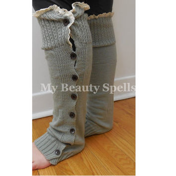 Womens Leg Warmers Light Gray with trim lace and open button down, High knee Boot Topper Crochet boot socks