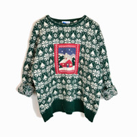 Vintage Ugly Christmas Sweater in Green Snowflake - women's large