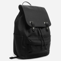 The Twill Backpack - Black + Black Leather