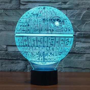 7 Colors Death Star Jedi Darth Star Wars Millennium Falcon Action Figures 3D Table Lamp BB 8 Master Yoda Vader Mask Led Toys