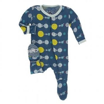 Kickee Pants Print Footie with Snaps Astronomy & Chemistry Collection