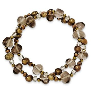 Freshwater Cultured Brown Pearls, Crystal And Smoky Quartz 2-Strand Stretch Bracelet