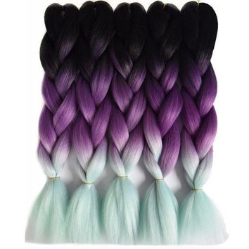 CREY78W Chorliss 24' Ombre Braiding Hair Crochet Braids BlackTPurpleTMint Green  Synthetic Crochet Hair Extension 100g/pack