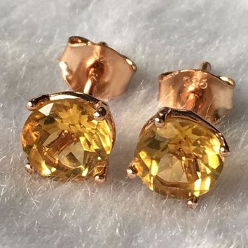 CREYONHS Natural yellow citrine silver earring, round 6mm*6mm, faced stone full cutting fire, beautiful color, ladies jewelry