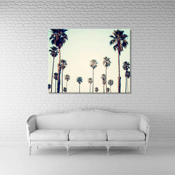 "Palm Tree Canvas, California Wall Art, Palm Tree Photography, Canvas Gallery Wrap, Ombre Sea Green ""California Love"""