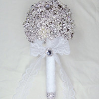 Brooch Bouquet Jeweled White Satin and Lace Gatsby Glitz Vintage Style In Stock or Have One Custom Made For You Not A Deposit