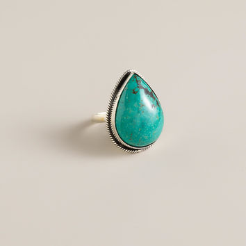 Sterling Silver Turquoise Teardrop Ring - World Market