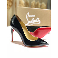 CL Christian Louboutin red sole classic rivet Roller Boat CL high heel boots for women BLACK