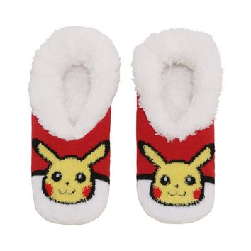 Licensed cool Pokemon GO Pikachu Poke ball Cozy Fluffy Faux fur Slippers Socks Anti Slip Sole