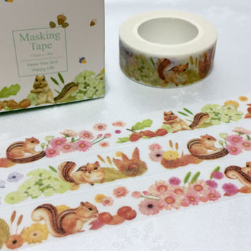 squirrel washi tape 10M x 1.5CM cute flower farm animal deco sticker tape cartoon spring forest animal scrapbook planner gift squirrel decor