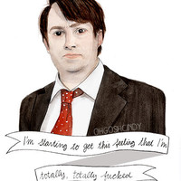 David Mitchell watercolor portrait illustration PRINT Peep Show Mark Corrigan
