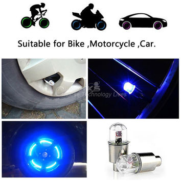 2PCS Firefly Spoke LED Wheel Valve Stem Cap Tire Motion Neon Light Lamp For Bike Bicycle Car Motorcycle