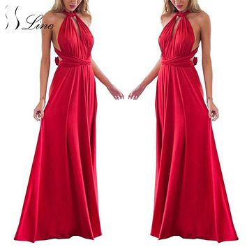 SSLine Sexy Women Boho Maxi Club Dress Solid Bandage Long Dresses Womens Party Multiway Bridesmaids Convertible vestidos 2017