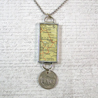 Rapid City Map and Coin Pendant Necklace
