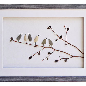 Birds wall art, Pebble art birds, Nursery decor, Rustic home decor, New home housewarming gift, Framed wall art, Nature art, Bird lover gift