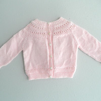 Pink Baby Knit Sweater Vintage Infant And Toddler Gently Used Baby Clothing Pink Baby Jacket Baby Trousseau Baby Photo Props