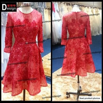 real sample Short sexy Dress 2015 Strapless Beaded Lace red Party Dresses A-Line Sexy cocktail dresses