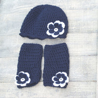 3-6 Months Hat Leg Warmer  Photography Prop Set Flowers Navy White Ready to Ship