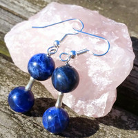 "Beautiful round sodalite bead dangle drop earrings with sterling hooks 2"" drop"